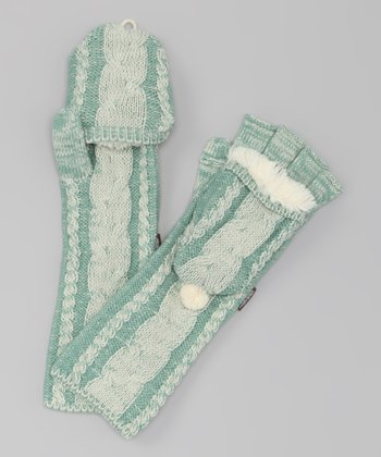 Ivory & Wintergreen Scandinavian Long Convertible Mittens - Women