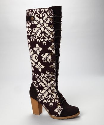 Eggplant Basket Weave Lace-Up Boot - Women