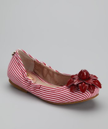 Red & White Stripe Ballet Flat - Kids