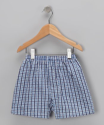 Baby Blue Checker Swim Trunks	 - Infant & Toddler