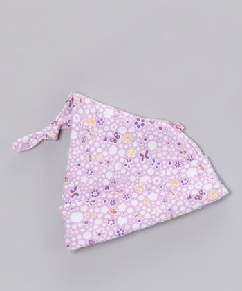 Lilac Poka-Dot Single-Knot Beanie - Infant
