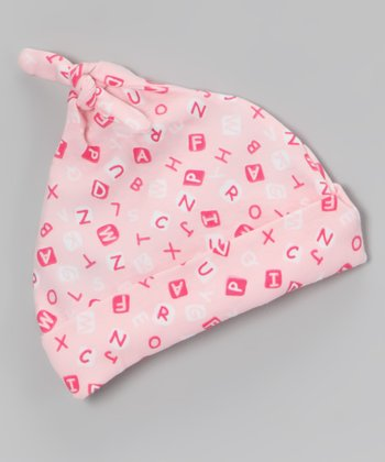 Pink & White ABC Single-Knot Beanie - Infant