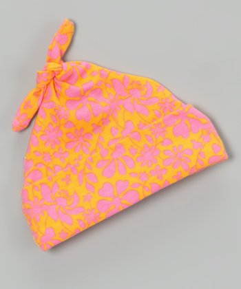 Orange Tropical Single-Knot Beanie - Infant