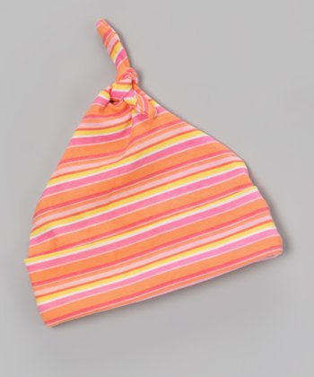 Orange Stripe Single-Knot Beanie - Infant
