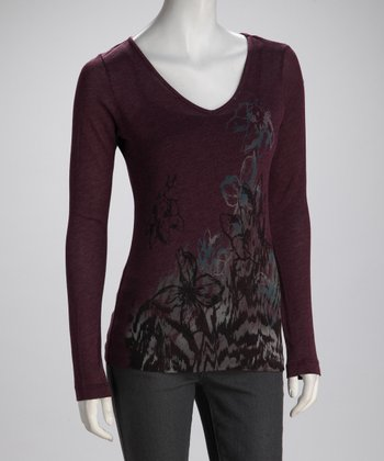 Maroon Flower V-Neck Tee