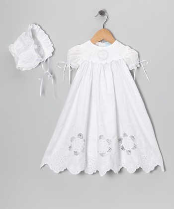 Ma Petite Amie White Flower Baptism Dress & Bonnet - Infant