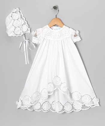 Ma Petite Amie White Baptism Dress & Bonnet - Infant