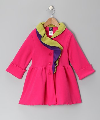 Pink & Lime Fleece Ruffle Coat - Infant, Toddler & Girls