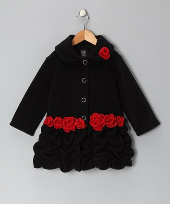 Black & Red Rose Fleece Ruffle Coat	- Infant, Toddler & Girls