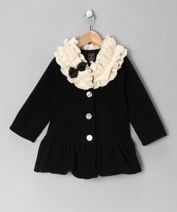 Black Pearl-Trim Fleece Coat - Infant, Toddler & Girls