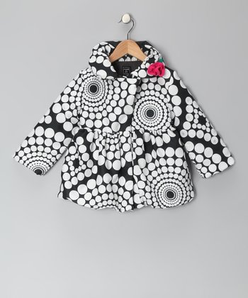 Black & White Polka Dot Pouf Coat - Infant, Toddler & Girls