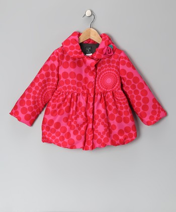 Red & Pink Polka Dot Pouf Coat	- Infant, Toddler & Girls