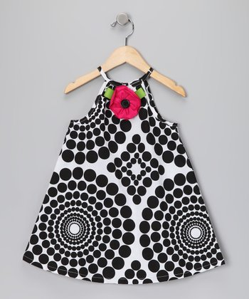 Black & White Rose Swing Dress - Infant, Toddler & Girls