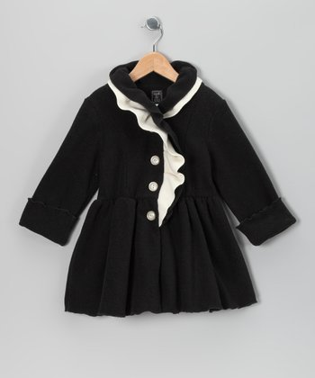Black & White Ruffle Neck Fleece Coat - Infant, Toddler & Girls