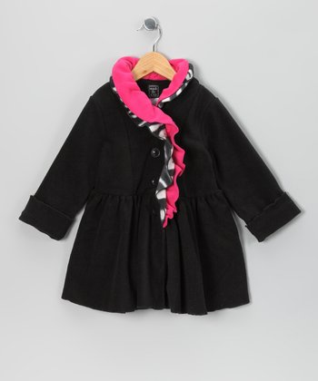 Black Zebra Ruffle Neck Fleece Coat - Infant, Toddler & Girls