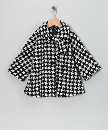Black & White Fleece Coat - Toddler & Girls