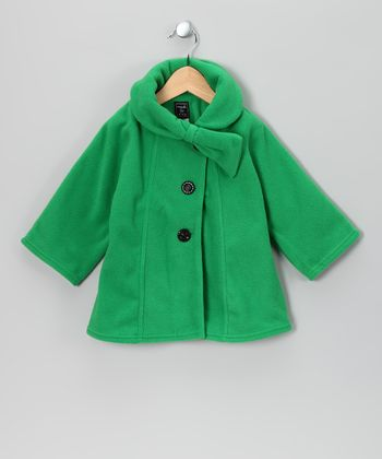 Kelly Green Bow Fleece Coat - Infant, Toddler & Girls