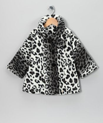 Snow Leopard Fleece Coat  - Toddler & Girls
