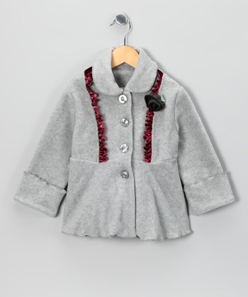 Heather Gray Panne Ruffle Fleece Coat - Toddler & Girls