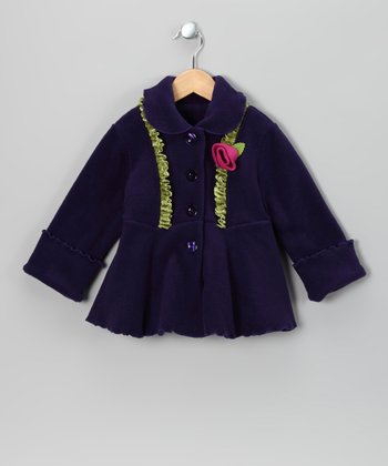 Purple Panne Ruffle Fleece Coat - Toddler & Girls