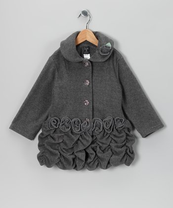 Charcoal Roses Fleece Coat - Infant, Toddler & Girls