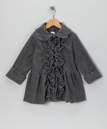 Charcoal Ruffle Fleece Coat - Infant, Toddler & Girls