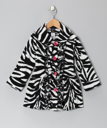 Black & Hot Pink Zebra Ruffle Coat - Toddler