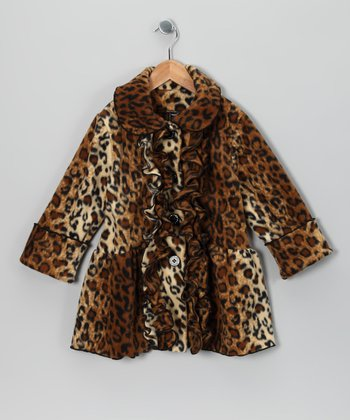 Cheetah Ruffle Fleece Coat - Infant, Toddler & Girls