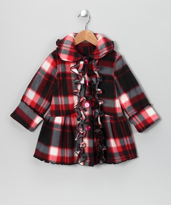 Red & Charcoal Fleece Coat - Toddler & Girls