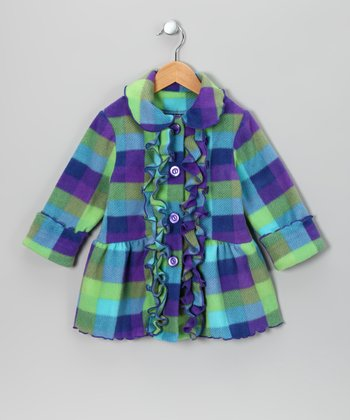 Turquoise & Purple Plaid Fleece Coat - Toddler & Girls