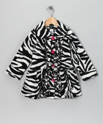 Zebra Ruffle Fleece Coat - Infant, Toddler & Girls