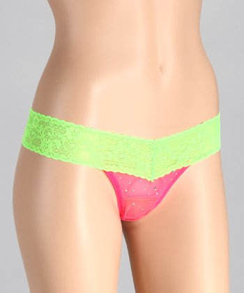 Passion Pink & Limeade Hologram Low-Rise Thong - Women
