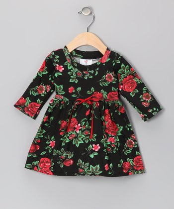 Black Hollywood Rose Dress & Beanie - Infant
