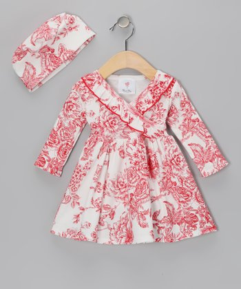 Red Floral Rose Toile Surplice Dress & Beanie - Infant & Toddler