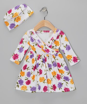 Purple & Yellow Warhol Rose Surplice Dress & Beanie - Infant
