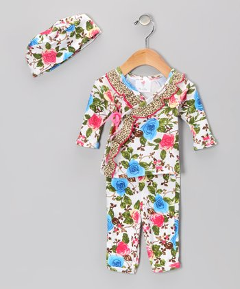 Bam Bam Floral Wrap Top Set - Infant