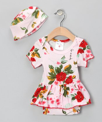 Pink Vintage Floral Skirted Bodysuit & Beanie - Infant