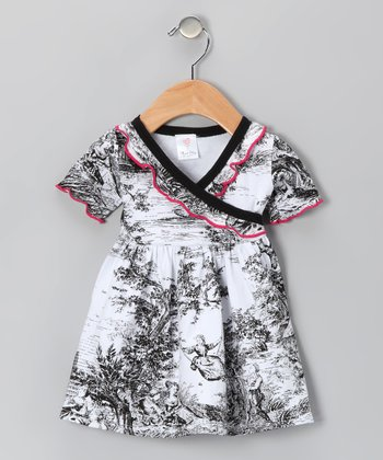 Black Toile Surplice Dress - Infant & Toddler