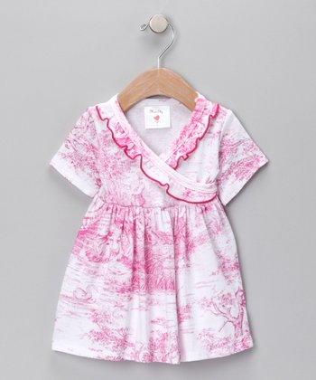 Hot Pink Toile Surplice Dress - Infant & Toddler
