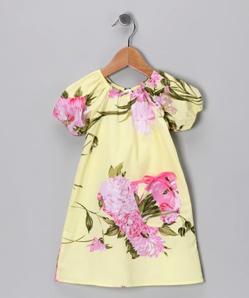 Yellow Palm Beach Floral Peasant Dress - Infant & Toddler