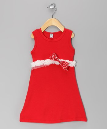 Made 2 Matche Red Bow Dress - Toddler & Girls