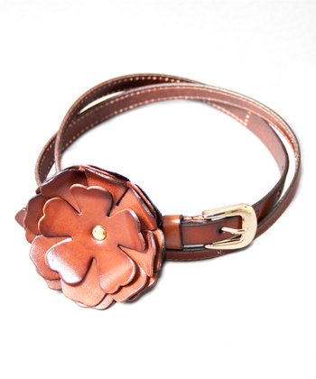 Oak Peony Leather Bump Belt