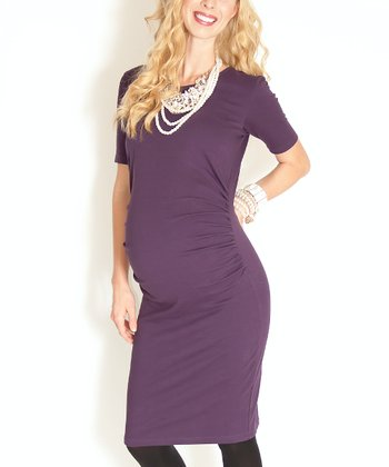 Deep Plum Etoile Maternity Dress