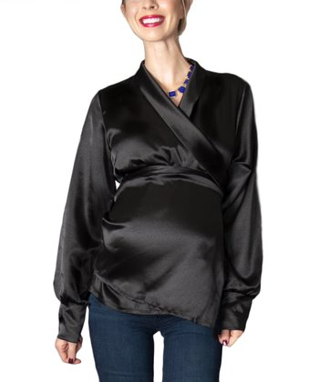 Madeline Black Satin Maternity Wrap Top - Women
