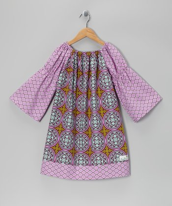 Lilac Peasant Dress - Toddler & Girls