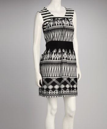Black & White Belted Dress - Women & Plus