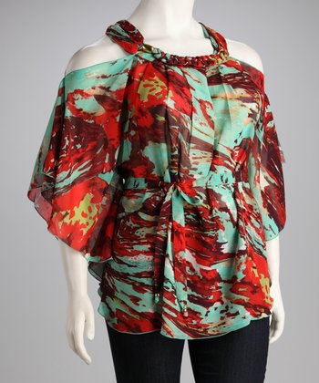Madison Paige Turquoise & Red Floral Chiffon Plus-Size Cutout Top