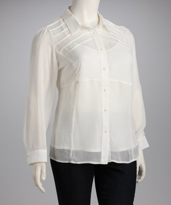 White Sheer Plus-Size Button-Up