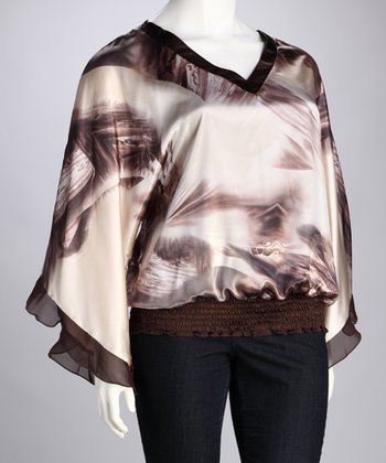 Beige Abstract V-Neck Top - Plus