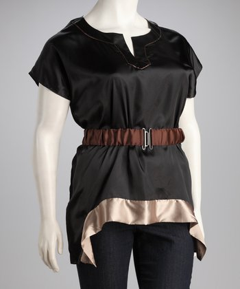 Black & Taupe Color Block Belted Top - Plus